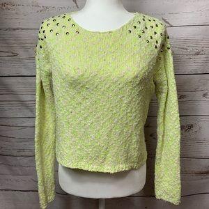EUC Material Girl Neon Green Studded Sweater XS